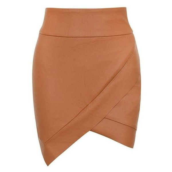 148c999c4 'Party On' Tan Vegan Leather Mini Skirt Mistress Rocks ❤ liked on Polyvore  featuring
