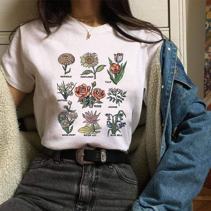 Wild flower Graphic Tees Women Shirts Short Sleeve T-shirt O-neck Tops