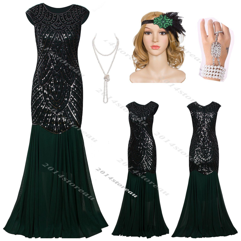 S flapper dress black long prom charleston costume gatsby fancy