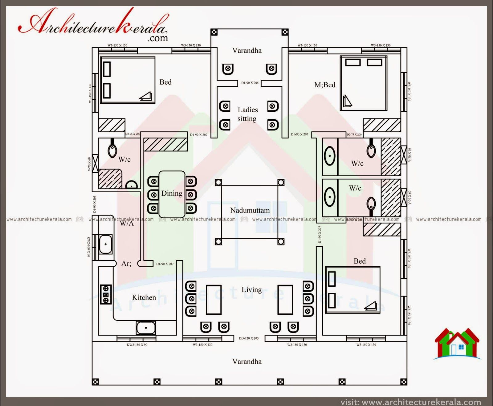 Typical Kerala Nalukettu Type Home Plan in 2000 Sq Ft with Floor Plan