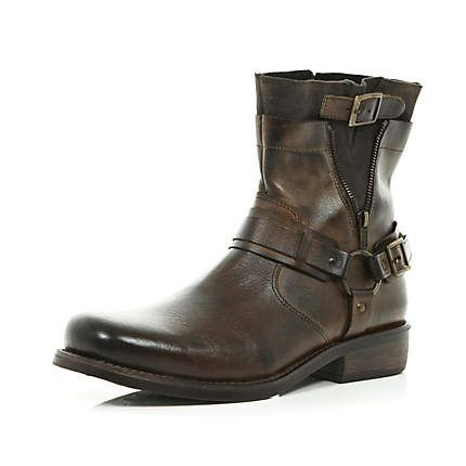 Brown Distressed Zip Side Biker Boots Boots Shoes Boots Men