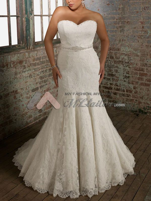 Lovely Plus Size Lace Mermaid Bridal Gown Mltailor Add Cap