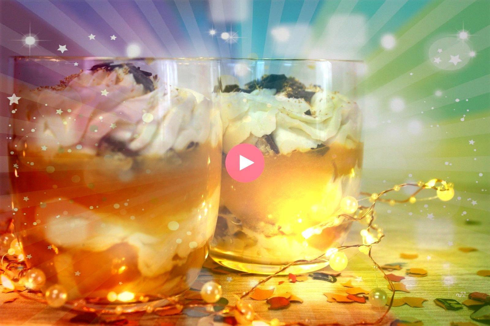 Mascarpone Pfirsich Dessert  für Silvester Geburtstage oder einfach so Mascarpone Pfirsich Dessert schnelles Dessert Rezept Nachtisch im Glas Dessert im Glas Nachtis...