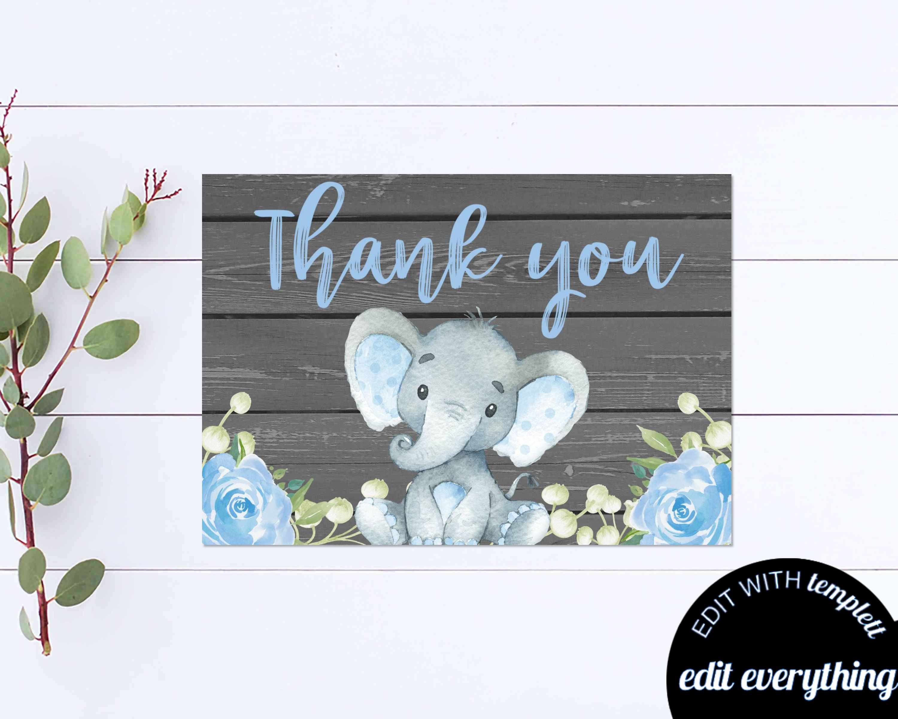 Elephant Thank You Card Thank You Template Printable Thank You Baby Shower Thank You Thank You Cards Instant Download Diy Thank Blue Floral Thank You Cards Baby Shower Thank You Your