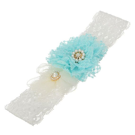 White lace headband featuring a pale blue by HalliesCreations14 $14