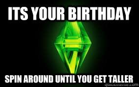 b3e0fcbcf51d78dc9efed2633589c271 its your birthday spin around until you get taller sims sims