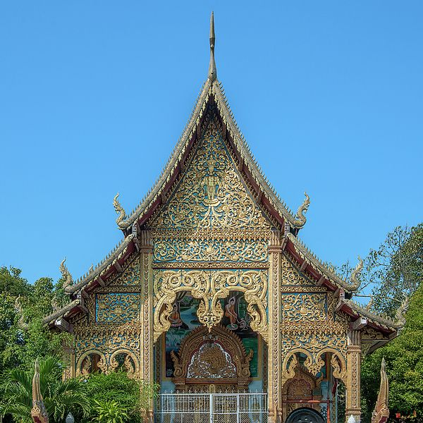 2014 Photograph, Wat Nong Seng Phra Wihan Gable, Mueang Nga, Mueang Lamphun, Lamphun, Thailand, © 2016. ภาพถ่าย ๒๕๕๗ วัดหนองเส้ง หน้าจั่ว พระวิหาร เหมืองง่า เมืองลำพูน ลำพูน ประเทศไทย
