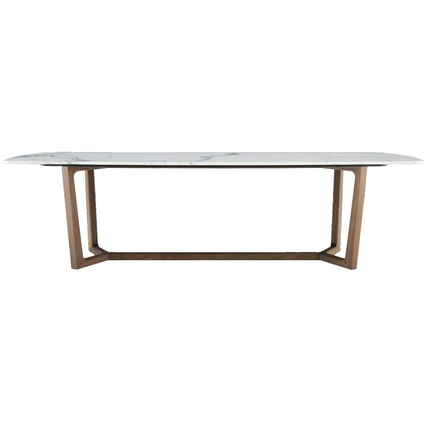 Poliform Concorde Dining Table Four Wood Bases And Six Marble Top