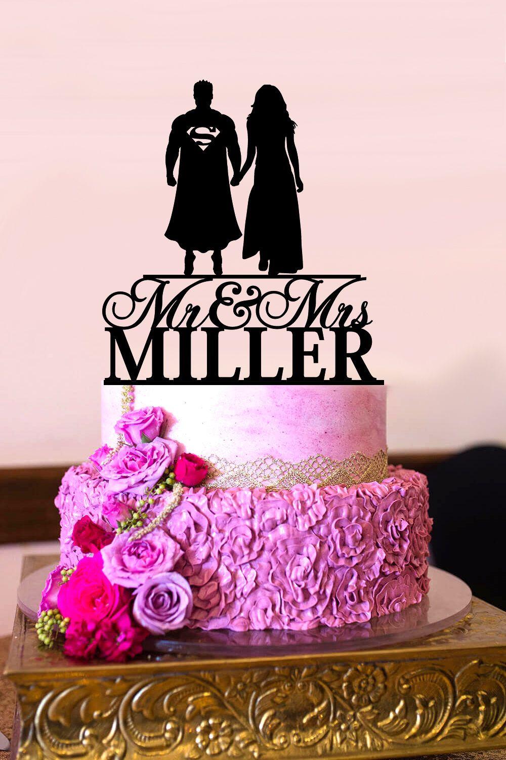 Superman Cake Topper, Custom Personalized Wedding Cake Topper, Mr ...