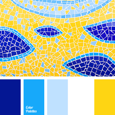 blue and sky blue, blue and white, blue and yellow, dark blue and blue,  dark
