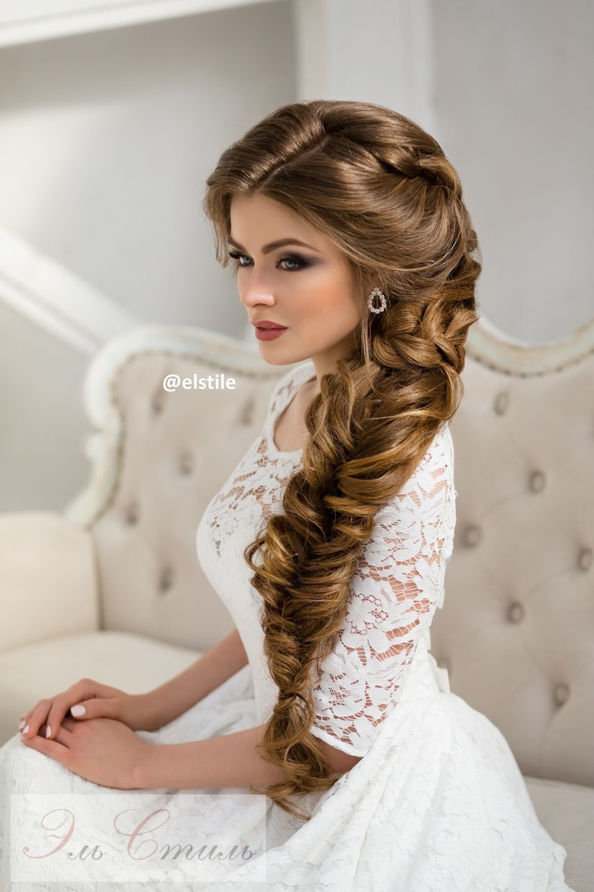 Long braided wedding hairstyle via elstile braided wedding