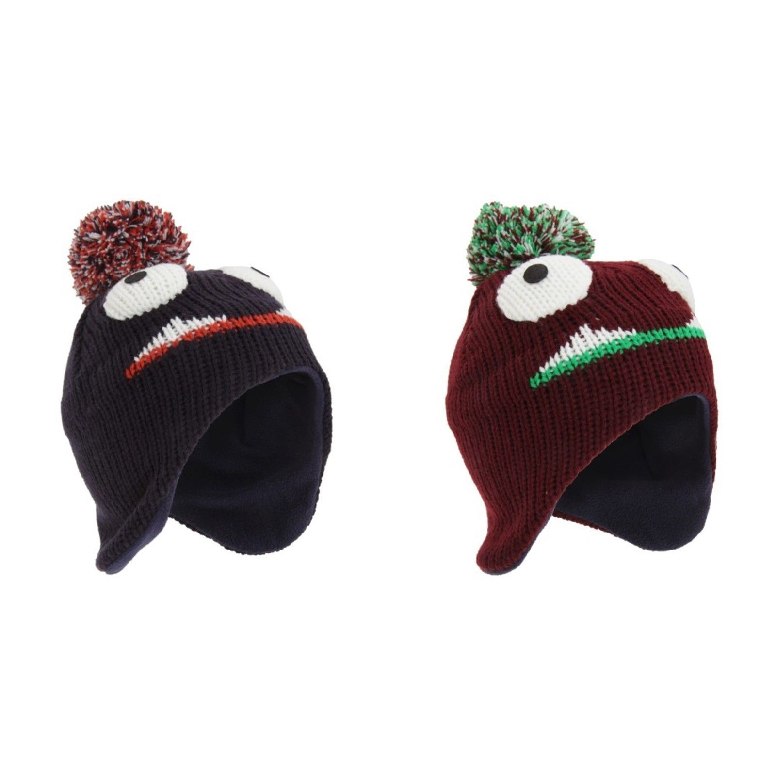 f5f0a6cde5ff8 Childrens Kids Monster Design Peruvian Style Winter Bobble Hat ...