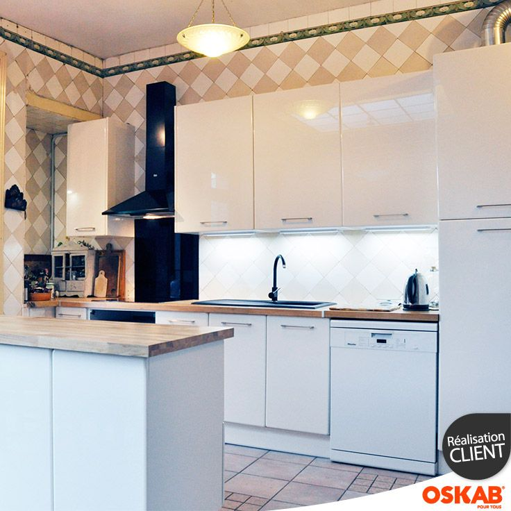 cuisine ivoire mod le keria avec fa ade ivoire brillante. Black Bedroom Furniture Sets. Home Design Ideas