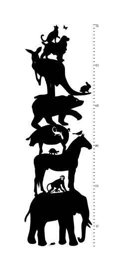 Animal Growth Chart Ruler Wall Vinyl Decal Growth Chart Ruler - Ruler growth chart vinyl decal