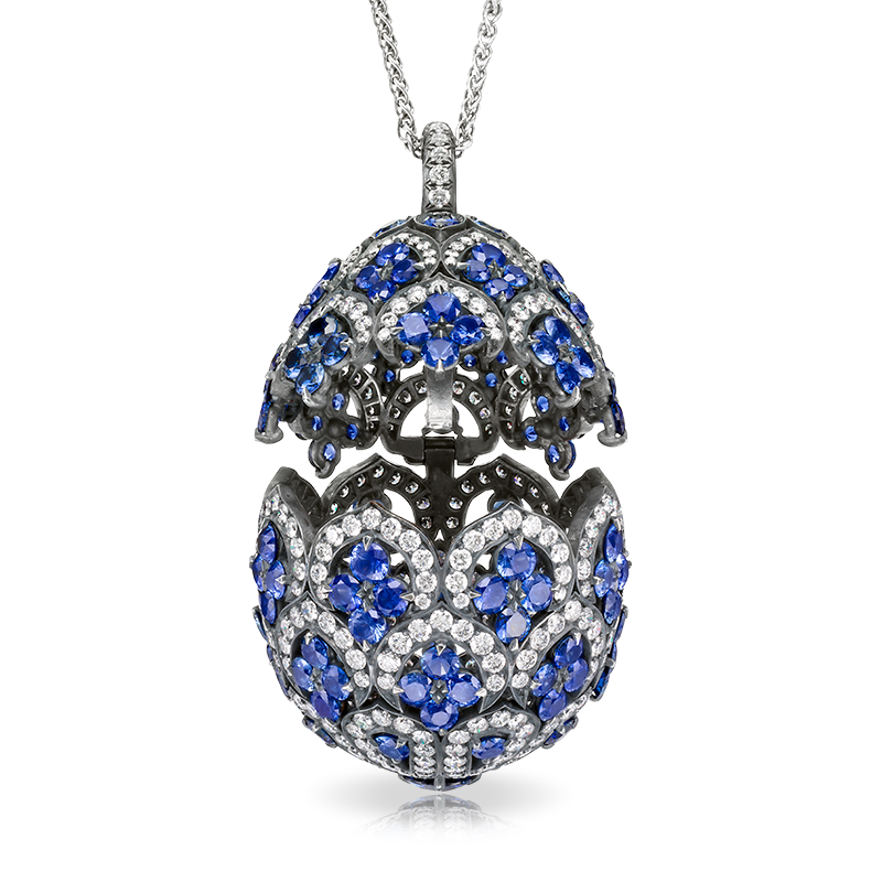 Znade sapphire egg pendant fine jewellery egg pendants one of a znade sapphire egg pendant locket les favorites de faberg one of a series of three exceptional faberg egg locket pendants designed in the graphic style aloadofball Gallery