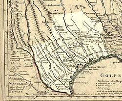 Texas in 1718, Guillaume de L\'Isle map, approximate state area ...