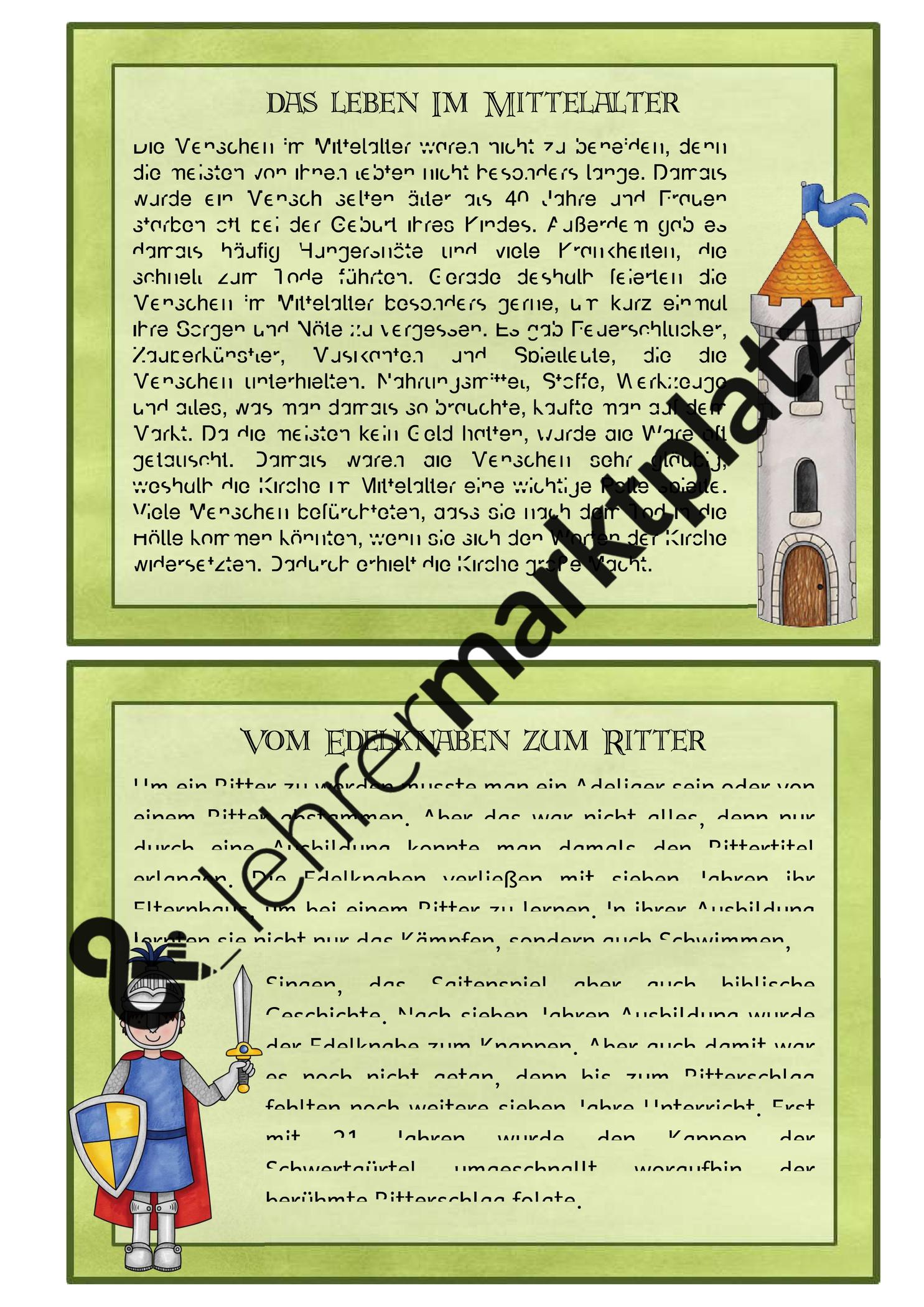 Lesekarten Mittelalter Unterrichtsmaterial In Den Fachern Deutsch Sachunterricht Lesemotivation Mittelalter Lesen