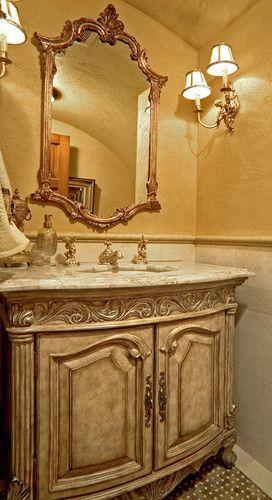 Sammamish Tuscan Estate Mediterranean Powder Room