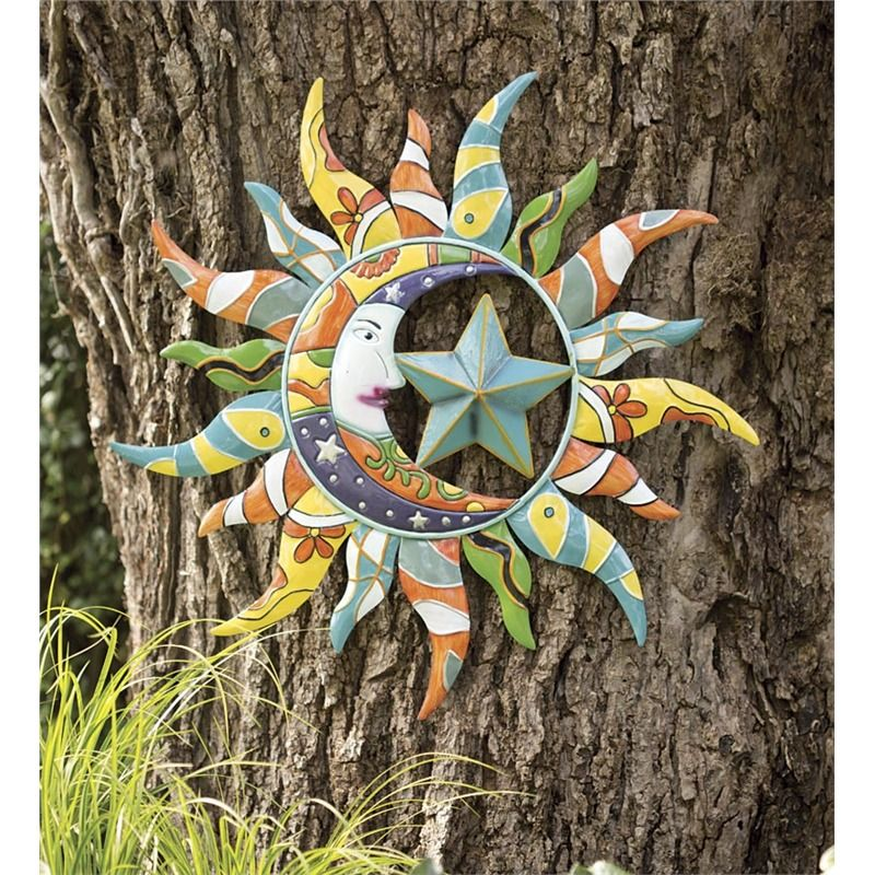 Metal Talavera Sun, Moon And Star Wall Art In Metal Garden Wall Art