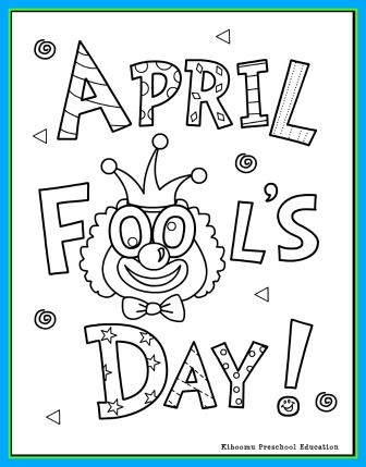 april fools coloring page and april fools song for preschool kindergarten esl and children with special needs