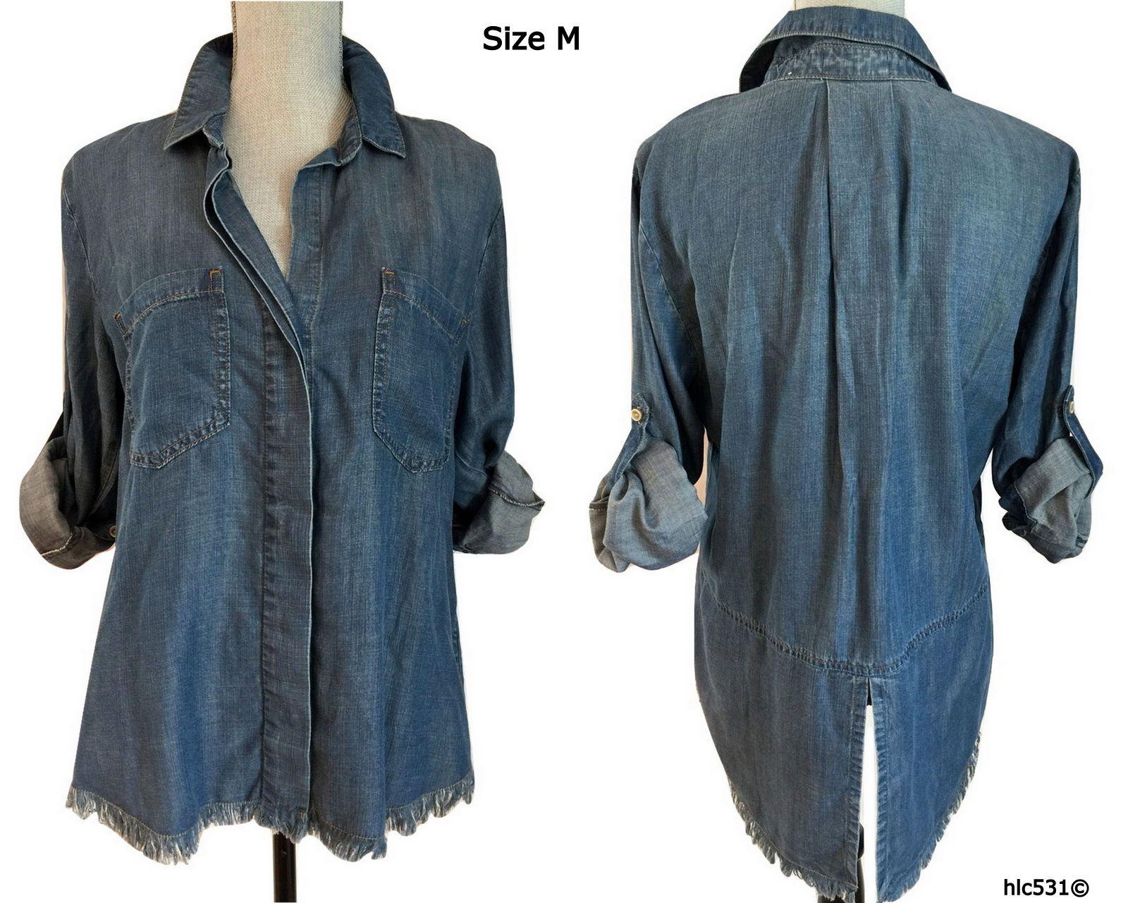 168e5b5bb94 Cloth & Stone Frayed Hem Shirt. • Frayed fringe trim. • Spread collar. •  Denim blue. • High low shirt tail hem. • Split back. • Bust 41
