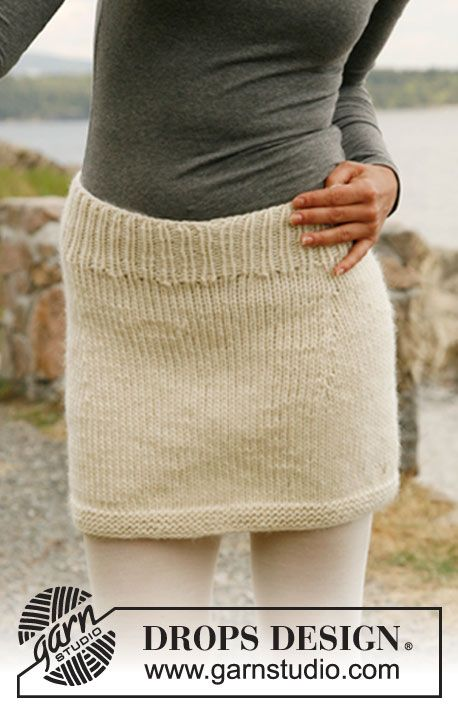 """Knitted DROPS skirt in """"Eskimo"""" or """"Andes"""". Size: S-XXXL. ~ DROPS ..."""