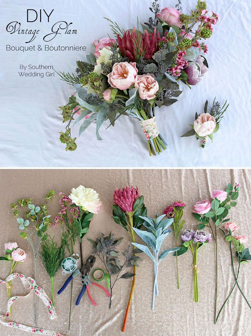Diy vintage bouquet boutonniere with afloral vintage wedding lush and beautiful bouquet can you believe its made with faux flowers izmirmasajfo