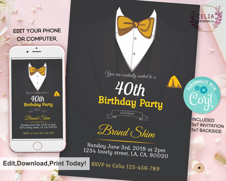 Mr KB50 Wonderful Invitation Gentleman Birthday Invitation