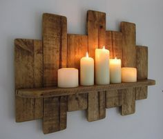 65cm Reclaimed pallet wood floating shelf / led candle holder shabby chic / country cottage furniture #woodcrafts