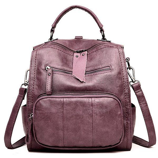 Women Bag Soft PU Leather Multi-function Handbag Solid Large Capacity Backpack