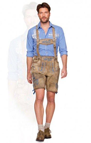 German traditional leather shorts h-beam Marcus antique corn blue