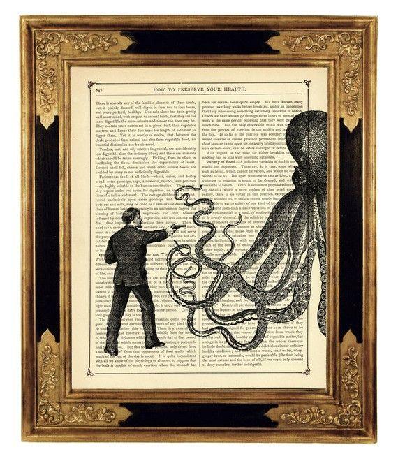 Gentleman vs Octopus Art Print Steampunk Kraken – Vintage Victorian Book Page Art Print