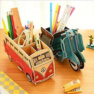 Gmisst Cute Cartoon Diy Pen Pencil Holder Office Desk Stationery Organizer Storage Box Bus