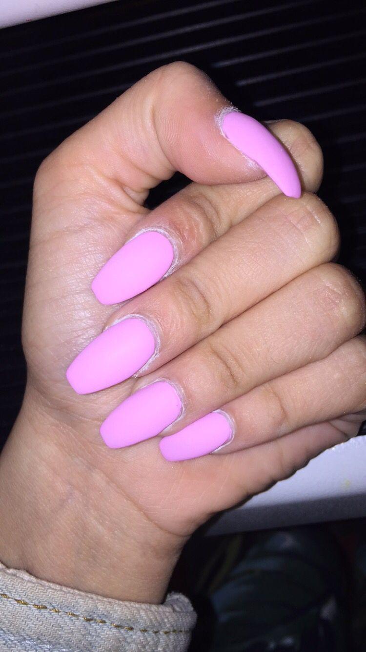 Light Pink Barbie Pink Matte Coffin Shape Acrylic Nails ...