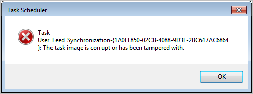 the task image is corrupt or has been tampered with