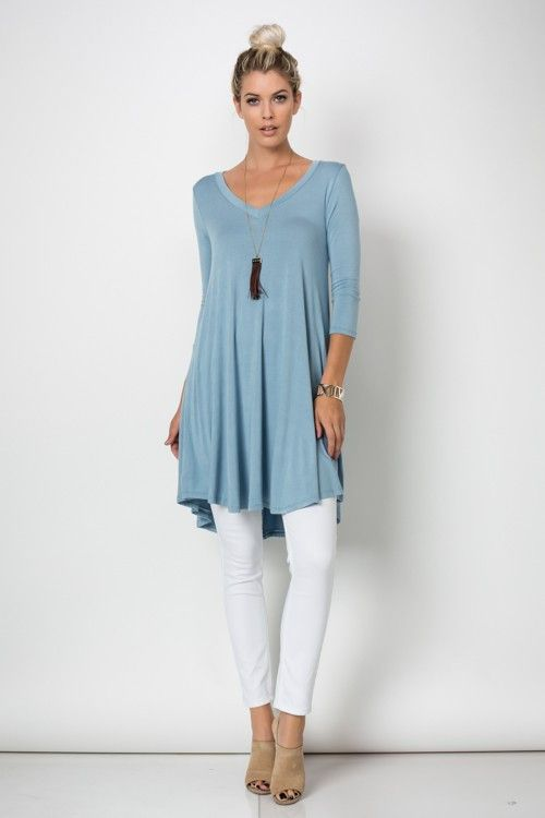 Trapeze V Neck Mini Tunic Dress Top