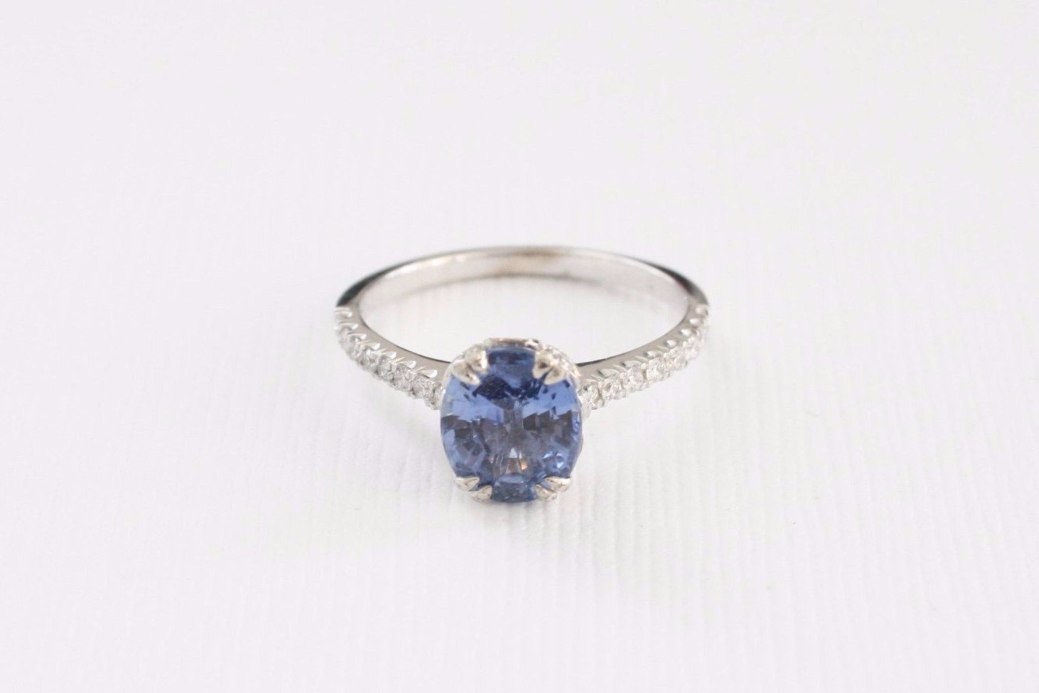 ctw ring pin tapered blue engagement cathedral sapphire solitaire