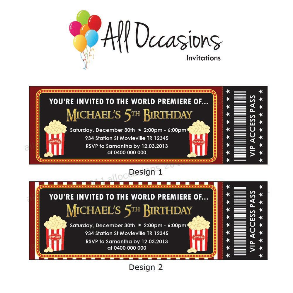 Personalised Custom Movie Ticket Movie Party Slumber Party