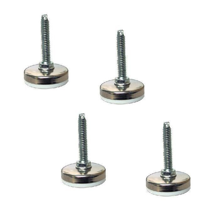 Set Of 4 White Maxim Leveling Glides W 5 16 X 1 1 2 Threaded Stem 1 3 8 Base Furniture Legs Glide Coarse Thread