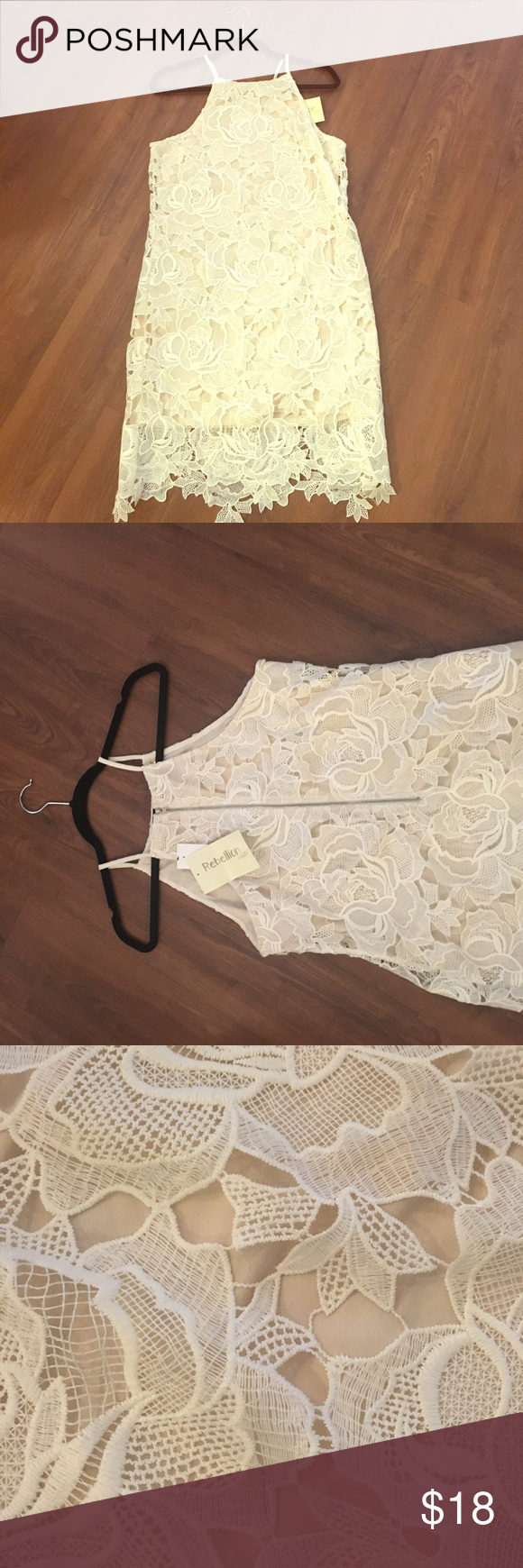 Beautiful lace overlay dress, L This dress is so perfect for spring and summer! Nude lining with an ivory lace overlay. Halter neck and zipper back. Would fit size 4-6. Brand new, with tags. Dresses Mini