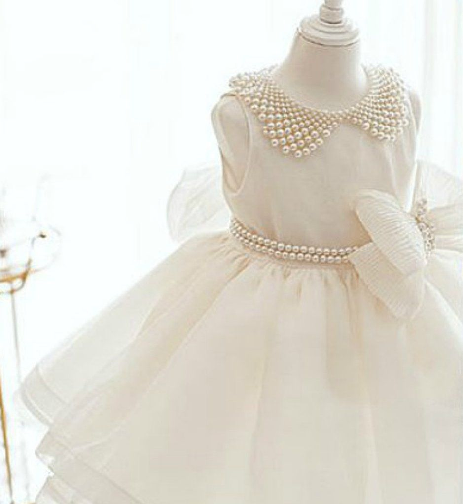 f3c5186f4 Pearl Applique Flower Girl Dress-Adorable White Pearl Applique Big ...