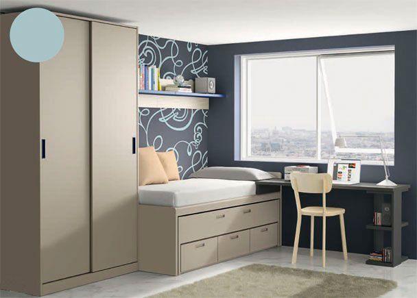 Dormitorio: Armario compacto encimera y estante
