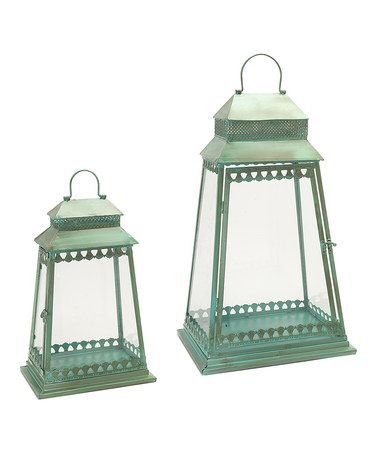 Another great find on #zulily! Green Rustic Lantern Set #zulilyfinds