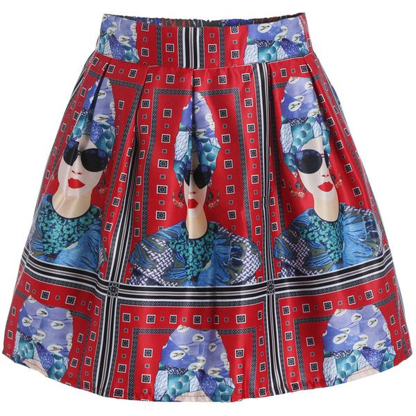 Woman Head Print Flare Skirt ($13) ❤ liked on Polyvore featuring skirts, red, red knee length skirt, patterned skater skirt, short skirts, circle skirt i skater skirt
