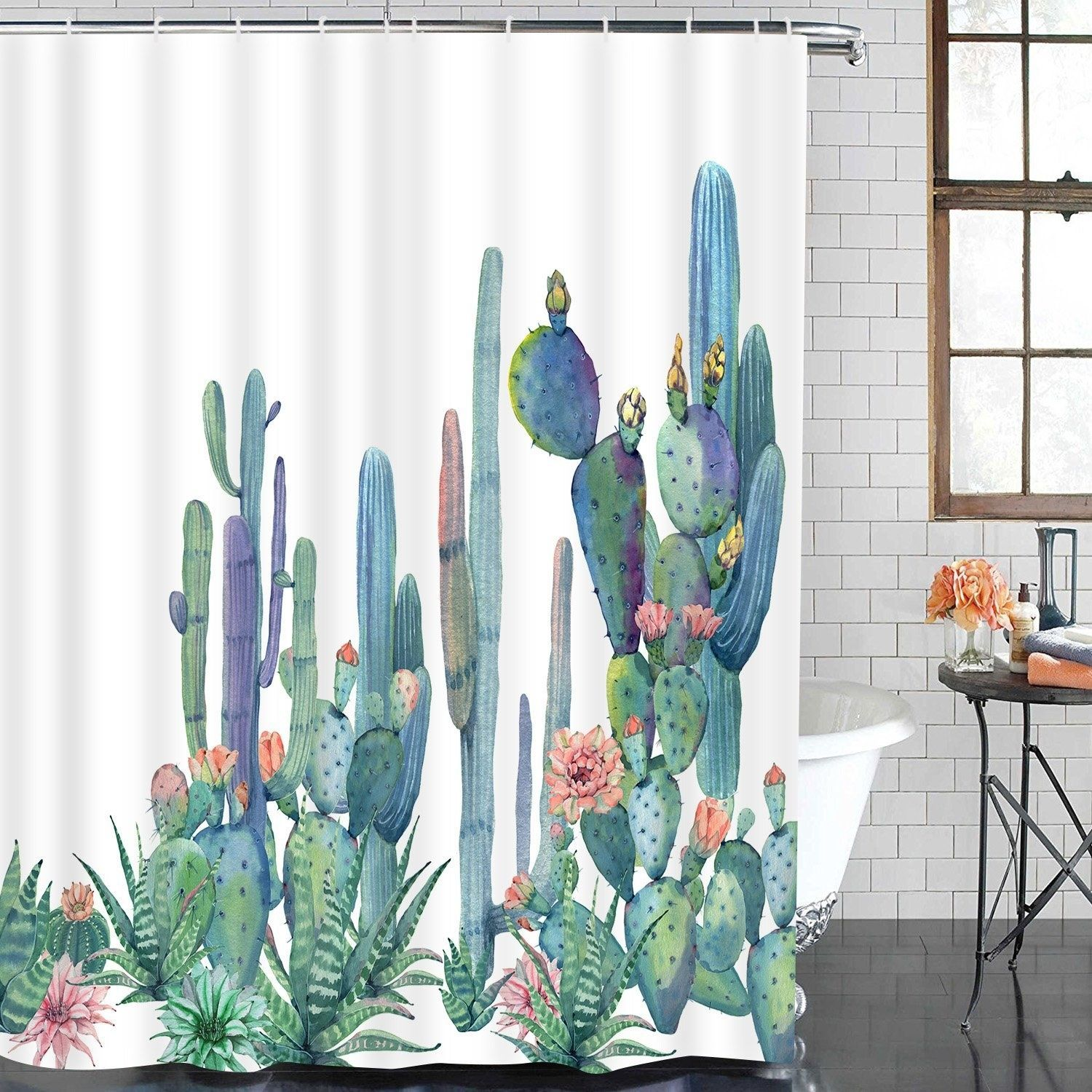 32 Things For Anyone With A Messy Shower Cactus Shower Curtain