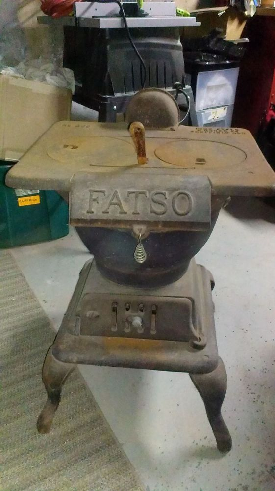 Vintage Antique Small Compact Cast Iron Fatso 200 Pot Belly Wood Cook Top Stove