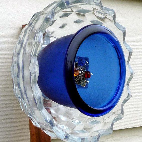 Glass garden art, glass flower, suncatcher, plant stake, glass sculpture, garden ornament, blue glass