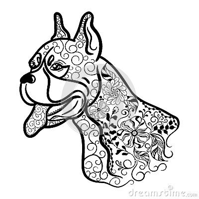 Boxer Dog Head Doodle Dog Coloring Page Boxer