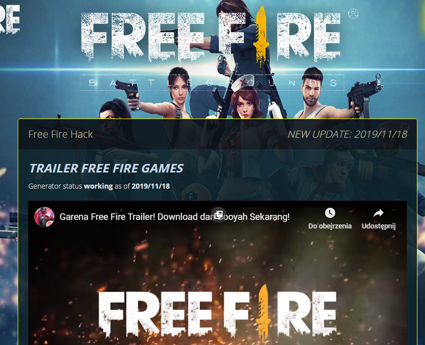 New site FREE FIRE HACK Best new free fire hack