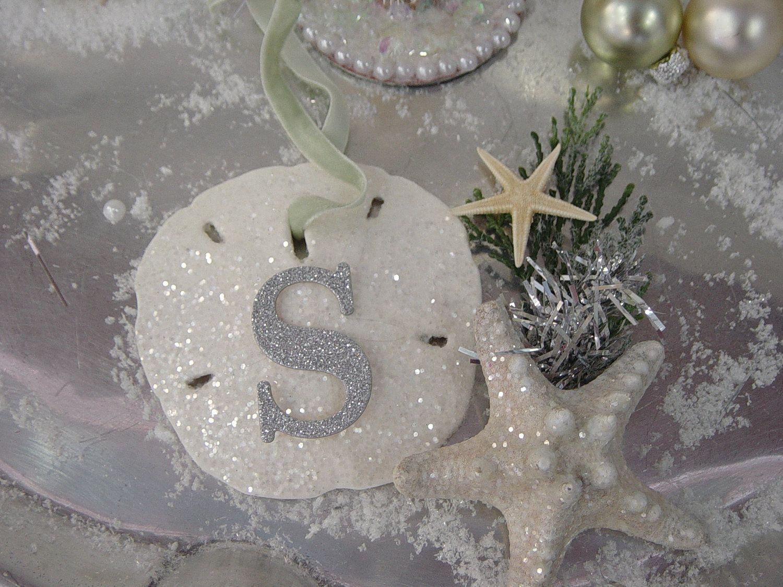 Glitter Sand Dollar Ornament Monogram Sea Shell